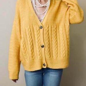 Splendid Yellow Oversized Cardigan